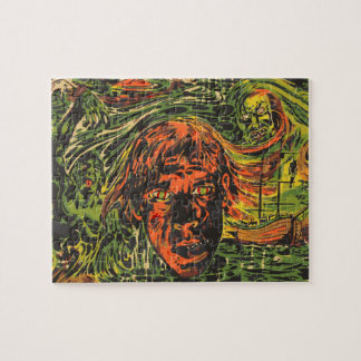 ヴィンテージのハロウィンのゾンビ、落書きの通りの芸術 ジグソーパズル