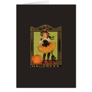 ヴィンテージのハロウィンの女の子 グリーティングカード