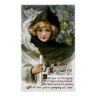ヴィンテージのハロウィンの女の子 ポスター
