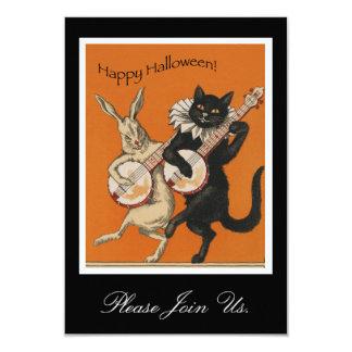 ヴィンテージのハロウィンの招待状-おもしろいな黒猫 カード