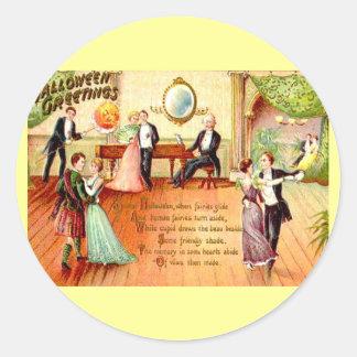 ヴィンテージのハロウィンの挨拶の踊ること ラウンドシール