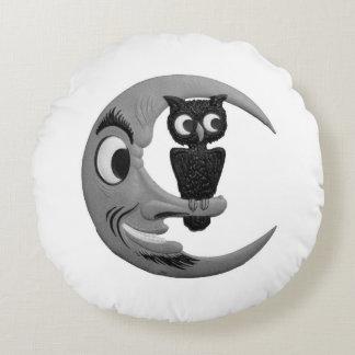 ヴィンテージのハロウィンの月およびフクロウ ラウンドクッション