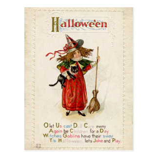 ヴィンテージのハロウィンの猫を持つ小さい魔法使いの女の子 ポストカード