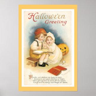 ヴィンテージのハロウィンの細字部分 ポスター