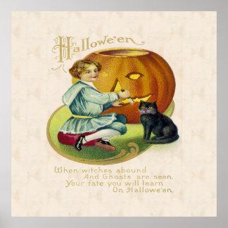 ヴィンテージのハロウィンの郵便はがき ポスター