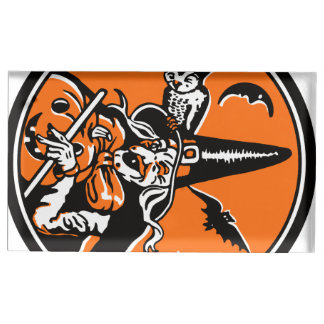 ヴィンテージのハロウィンの魔法使いおよびフクロウの絵 テーブルカードホルダー