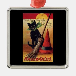 ヴィンテージのハロウィンの黒猫、天狗巣および帽子 メタルオーナメント