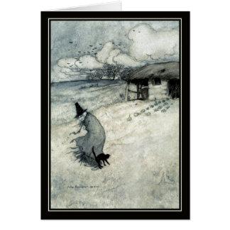ヴィンテージのハロウィンアーサーRackhamの魔法使い + 黒猫 カード