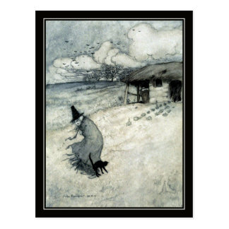 ヴィンテージのハロウィンアーサーRackhamの魔法使い + 黒猫 ポストカード
