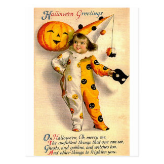 ヴィンテージのハロウィンカードは女の子およびカボチャを着せました ポストカード
