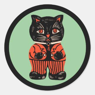ヴィンテージのハロウィン猫のステッカー ラウンドシール