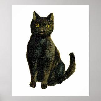 ヴィンテージのハロウィン猫 ポスター