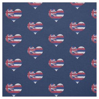 ヴィンテージのハワイの旗のハート ファブリック