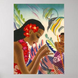 ヴィンテージのハワイの美しい~のカラフルな熱帯ポスター ポスター