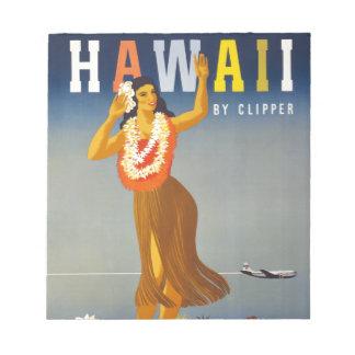 ヴィンテージのハワイの観光事業ポスター場面 ノートパッド