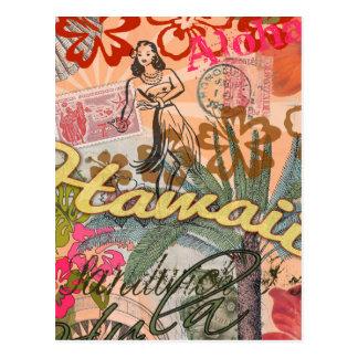ヴィンテージのハワイ旅行カラフルなハワイの熱帯 ポストカード