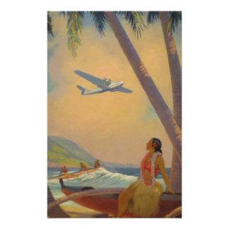 ヴィンテージのハワイ旅行-ハワイの女の子のダンサー 便箋