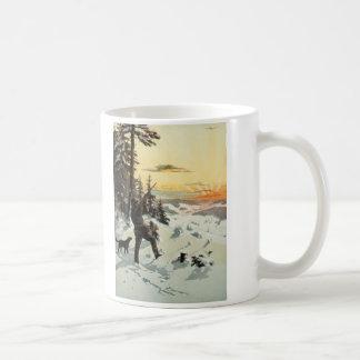 ヴィンテージのハンター犬銃の雪のアートワークのコーヒー・マグ コーヒーマグカップ