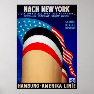 ヴィンテージのハンブルクAmerika船ポスター ポスター