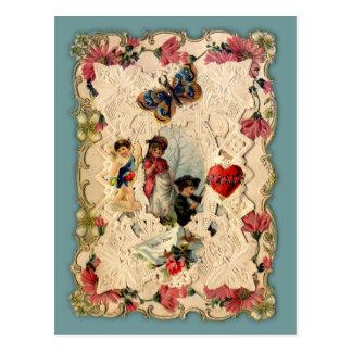 ヴィンテージのハートおよび花のバレンタインの郵便はがき ポストカード