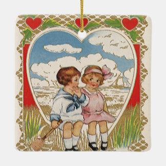 ヴィンテージのハートのビクトリアンなバレンタインデーの子供 セラミックオーナメント