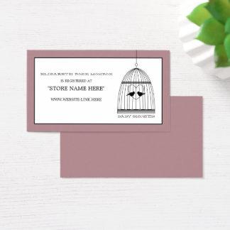 ヴィンテージのハートの鳥かごのベビーシャワーのギフト登録 名刺