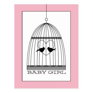 ヴィンテージのハートの鳥かごの女の赤ちゃんの発表 ポストカード