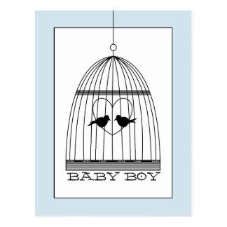 ヴィンテージのハートの鳥かごの男の赤ちゃんの発表 ポストカード