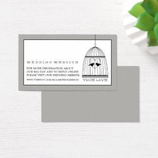 ヴィンテージのハートの鳥かごの結婚式のウェブサイト 名刺