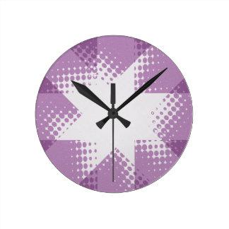 ヴィンテージのハーフトーンの星の時計 ラウンド壁時計