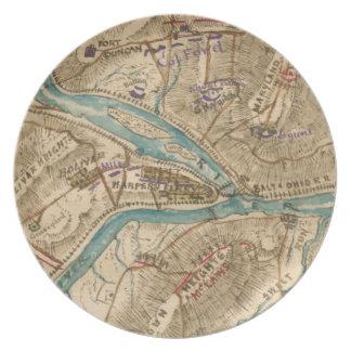 ヴィンテージのハープ奏者フェリー内戦の地図(1862年) プレート