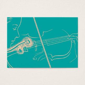 ヴィンテージのバイオリンの女性のマイクロフォン音楽ターコイズ 名刺
