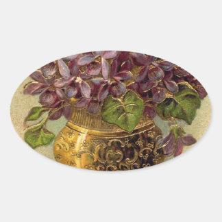 ヴィンテージのバイオレットの金つぼのステッカー 楕円形シール