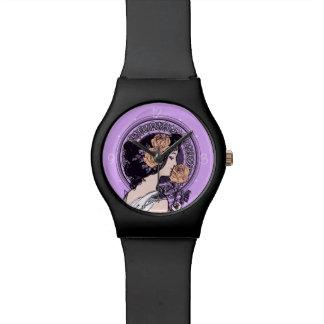 ヴィンテージのバイオレットアールヌーボー 腕時計