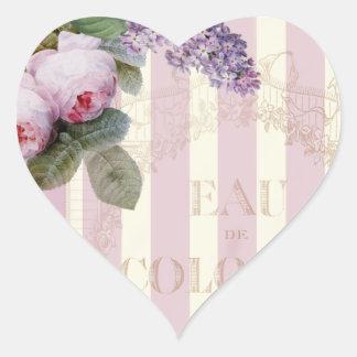 ヴィンテージのバラおよび薄紫 ハート形シールステッカー