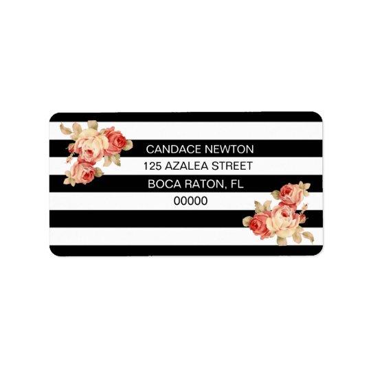 ヴィンテージのバラが付いている黒い及び白のストライプ 宛名ラベル