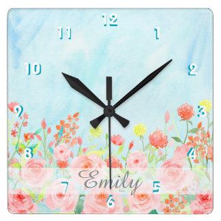 ヴィンテージのバラの水彩画のピンクの青いカスタマイズ可能 スクエア壁時計