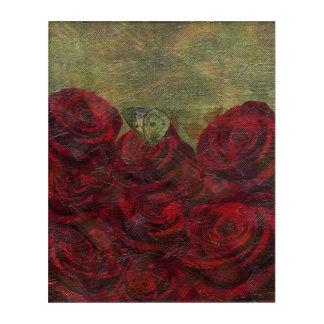 ヴィンテージのバラの緑の油絵 アクリルウォールアート