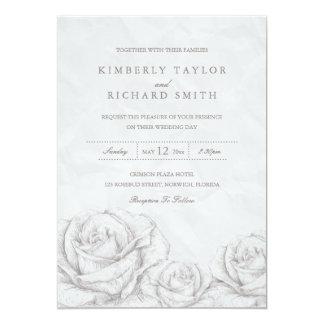 ヴィンテージのバラの花の灰色のエレガントな結婚式の招待 カード