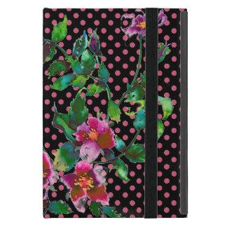 ヴィンテージのバラの黒およびmarsalaの水玉模様 iPad mini ケース