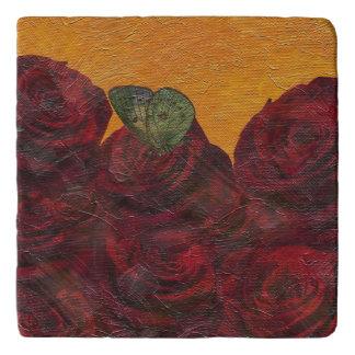ヴィンテージのバラ油の絵画 トリベット