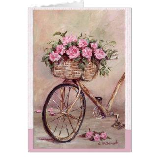 ヴィンテージのバラ色のバイク カード