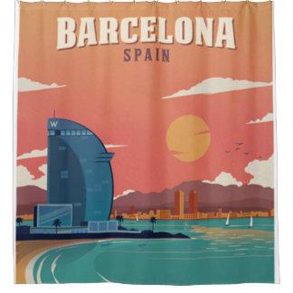 ヴィンテージのバルセロナのビーチポスター シャワーカーテン