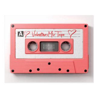 ヴィンテージのバレンタインのオーディオ・カセットテープの組合せテープ ポストカード