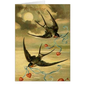 ヴィンテージのバレンタインのツバメ、誕生日 カード