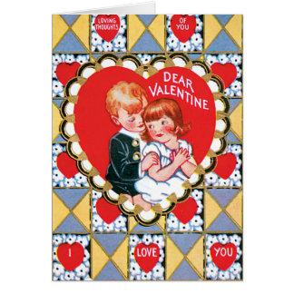ヴィンテージのバレンタインの三角形およびハート カード