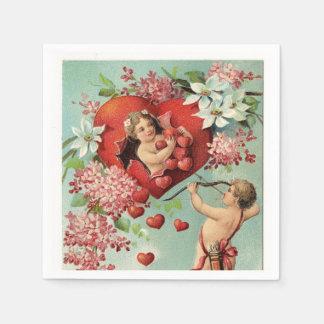 ヴィンテージのバレンタインの天使およびハート スタンダードカクテルナプキン