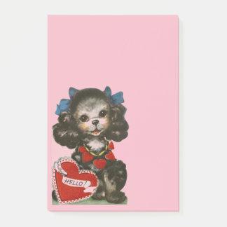 ヴィンテージのバレンタインの子犬 ポストイット