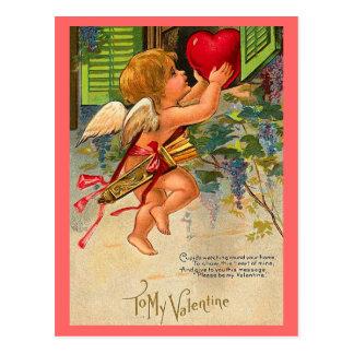 ヴィンテージのバレンタインの郵便はがき 葉書き