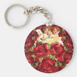 ヴィンテージのバレンタインカードハートのバラのキューピッドの天使 キーホルダー